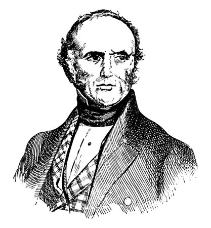 Sir Charles Lyell, 1797-1875, he was a Scottish geologist, famous as the author of principles of geology, vintage line drawing or engraving illustration