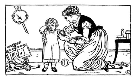 This image shows how patiently a mother is soothing her crying child, vintage line drawing or engraving illustration. Banco de Imagens - 133005529