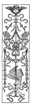Intarsia Oblong Panel is a wood inlay design found in Bologna, vintage line drawing or engraving illustration. Illustration