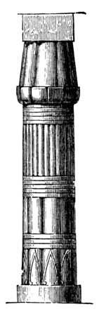 Pillar at the Palace at Luxor, palace, pillar, post, seed, pod, support, unopened, bud, vintage line drawing or engraving illustration.
