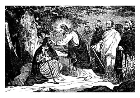 Jesus stands in front of the sick man. Two disciples standing back side of Jesus and two peoples staring the angel in water, vintage line drawing or engraving illustration.