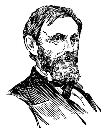 Jefferson C. Davis, 1828-1879, he was a officer of the United States Army during the American civil war and first commander of the department of Alaska, vintage line drawing or engraving illustration Фото со стока - 133022976