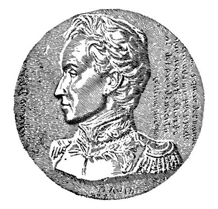 Simn Bolvar, 1783-1830, he was a military and political leader who played a leading role in the establishment of Venezuela, Bolivia, Colombia, Ecuador, Peru and Panama, vintage line drawing or engraving illustration