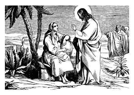 Jesus is speaking to a woman. Woman is carrying a pot with her, vintage line drawing or engraving illustration.