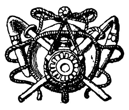 Farming Symbol is found in front of the Tuileries a royal palace, it is in Paris, vintage line drawing or engraving. Stock Illustratie