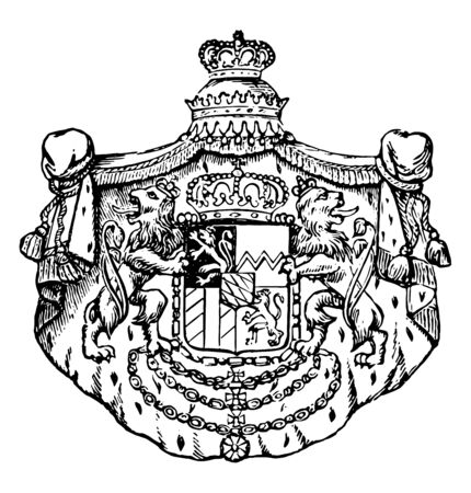 The Great Seal of Bavaria is a European coat, vintage line drawing or engraving illustration.