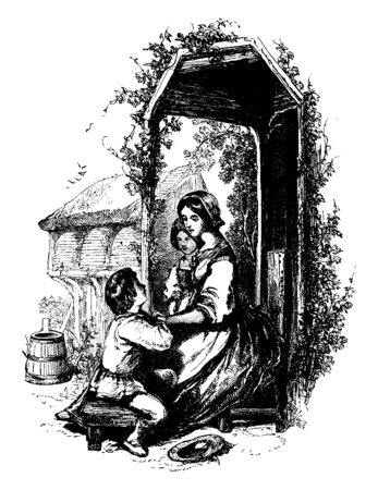 This image shows how patiently a mother is soothing son, vintage line drawing or engraving illustration. Banco de Imagens - 133023021