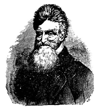 John Brown, 1800-1859, he was an American abolitionist, he led a raid on the federal armoury at Harpers Ferry to start a liberation movement in 1858, vintage line drawing or engraving illustration Standard-Bild - 133023023