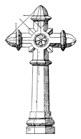 Granite Cross is found on a tomb, character of the house, identity, owners, vintage line drawing or engraving illustration.  イラスト・ベクター素材