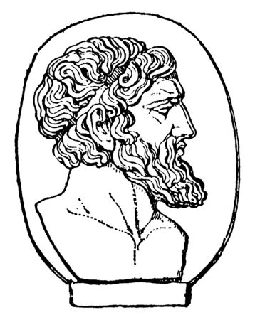 Anacreon, he was a Greek lyric poet, famous for his drinking songs and hymns, vintage line drawing or engraving illustration Foto de archivo - 133006333