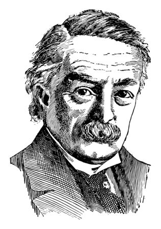 David Lloyd George, 1863-1945, he was a British Liberal politician and prime minister of the United Kingdom from 1916 to 1922, vintage line drawing or engraving illustration