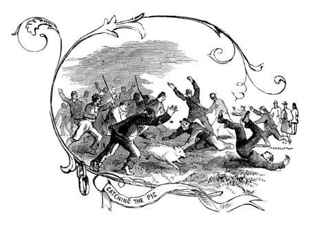 It looks like the group of Soldiers are trying to catch a pig and some people in background are celebrating their thanksgiving and encouraging the soldiers to catch that pig as soon as possible, vintage line drawing or engraving illustration.