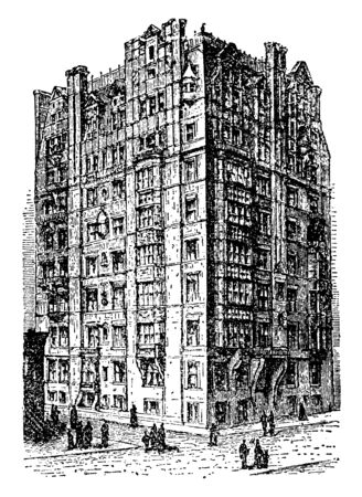 The Berkshire Apartment house is present at New York; it has floors with many windows on the walls, vintage line drawing or engraving illustration. Illusztráció