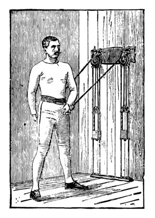 Work out by a man by pulling weights tied on machine from both arms. He is standing between two weights; one arm is behind his head and other one is near his stomach and is pulling both arms together, vintage line drawing or engraving illustration.