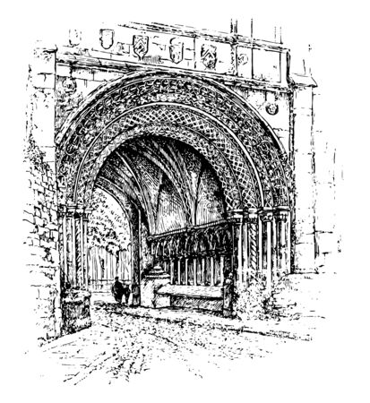 Norman Gateway,  in Bristol, England, originally the entrance to a monastery, used to categories styles, Romanesque architecture, vintage line drawing or engraving illustration. Çizim