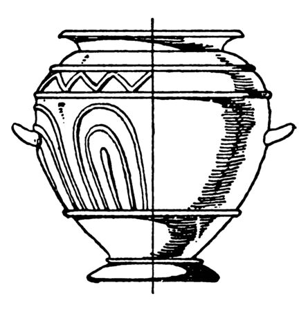 Grey Clay Urn has ornamentation in its relief, its used in funeral rites as a repository for the ashes of the dead, vintage line drawing or engraving.