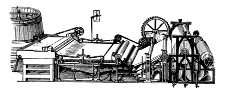 This illustration represents Paper Making Machine which is almost superseded the old hand making process of forming paper, vintage line drawing or engraving illustration. Çizim