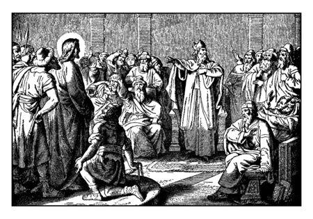 Una foto muestra el juicio de Jesús que permanece ante el Sumo Sacerdote y Caifás en el templo. Caifás alquila su túnica y se centra en Jesús en la acusación. El luchador mira hacia Jesús con los brazos abiertos, línea vintage de dibujo o ilustración de grabado.