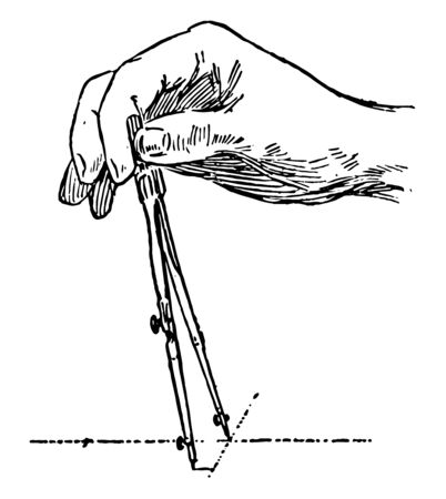 Compass Adjustment make sure to place legs together while turning the nut slowly, vintage line drawing or engraving illustration.
