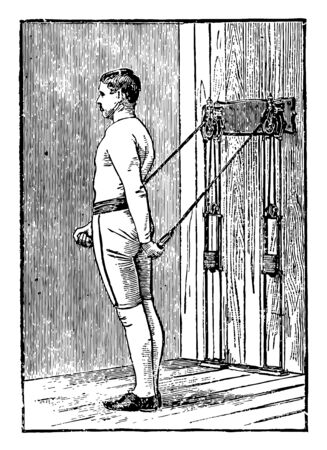 A man doing chest exercise by pulling weights tied on machine from both arms. In this exercise, he is standing in between two weights, and string pulling direction is downward, vintage line drawing or engraving illustration.
