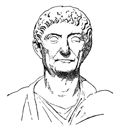 Diocletian, he was a Roman emperor from 284 to 305, vintage line drawing or engraving illustration