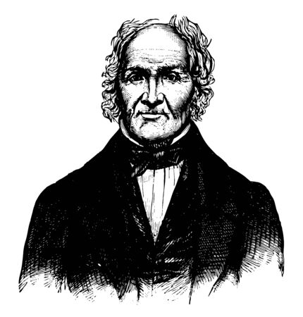Jeremiah Holmes, 1824-1912, he was an American sea captain, vintage line drawing or engraving illustration