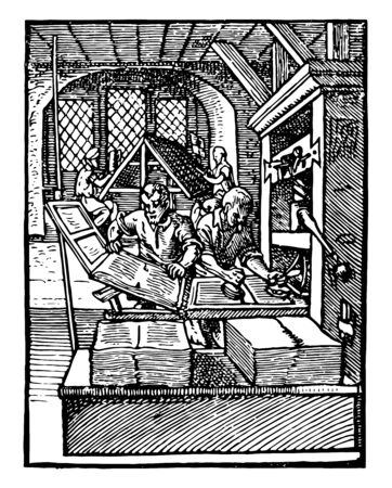 This illustration represents Printing Office where laying paper under a wooden press, vintage line drawing or engraving illustration.