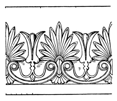 Modern German Cresting Border is found on the ridge or top of a roof, vintage line drawing or engraving illustration.