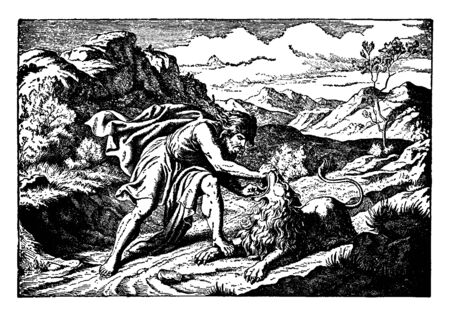 Samson tearing the jaw of a lion that he is killing. He is wearing a robe and a cape. He has long hair and a thick beard. The lion seems still alive. The terrain is rocky with some foliage, vintage li 일러스트