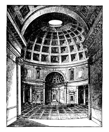 Interior of the Pantheon at Rome, most important and most beautiful of circular buildings, without columns surrounding,  vintage line drawing or engraving illustration.