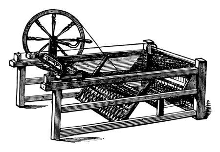 Diese Abbildung stellt The Spinning Jenny dar, bei der es sich um eine mehrspindelige Spinnmaschine, eine Vintage-Linienzeichnung oder eine Gravurillustration handelt.