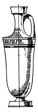Greek Lekythos is made of red clay, it is a painted in black, vintage line drawing or engraving.