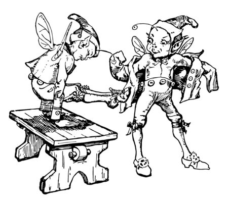 The Elves and the Shoemaker, this scene shows two elves in clothes, and one of them playing on table, vintage line drawing or engraving illustration