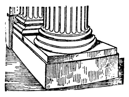 Scamillus,  the piece of stone, Roman Architecture, sitting directly underneath a column, vintage line drawing or engraving illustration.