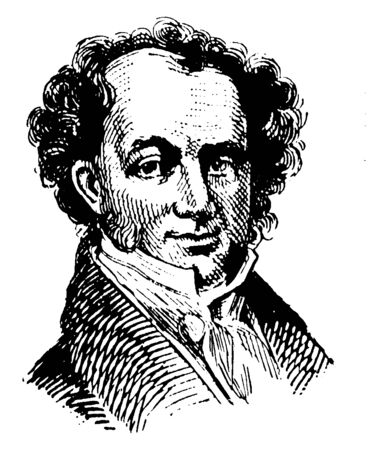 Martin Van Buren, 1782-1862, he was an American statesman, the eighth president of the United States from 1837 to 1841, and founder of the democratic party, vintage line drawing or engraving illustration