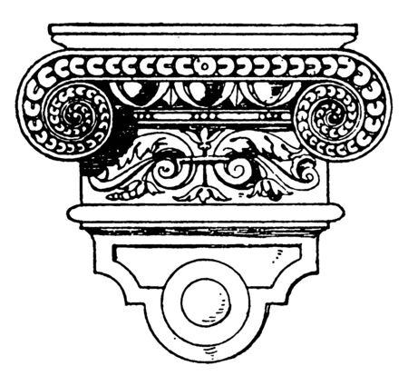 Renaissance Console imitates the Doric, classic vanity sink is carved from a single block, sweeping curve flanked by pairs , vintage line drawing or engraving illustration.