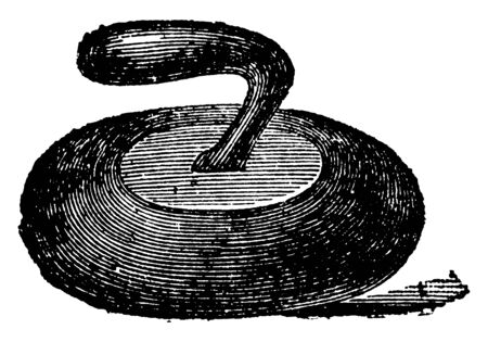 It is a curling stone curved in shape and it is having a handle which causes the stone to slowly turn, vintage line drawing or engraving illustration. Banco de Imagens - 133006413