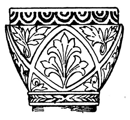 Byzantine Capital found in the St. Sophia in Turkey, cylindrical, shaft, square, supports, trapeziform, vintage line drawing or engraving illustration.