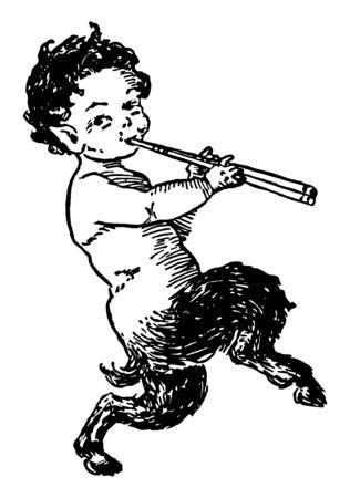 Sur cette photo, un petit garçon nommé Pan joue de la flûte, du dessin au trait vintage ou de l'illustration de gravure. Vecteurs
