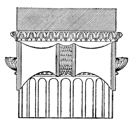 Greek Ionic Order (Side View) practiced in mainland Greece, temple, Hera, Samos, vintage line drawing or engraving illustration. 向量圖像