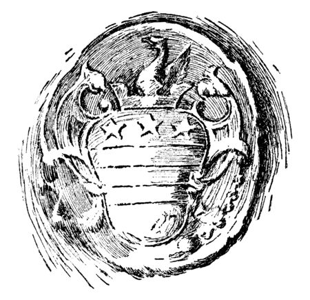 This is Washingtons Seal (From a Letter to Bouquet, 1758), its design looks like the design printed on Washingtons Arms, it has shield picture and dragon on top of it, vintage line drawing or engraving illustration Illusztráció