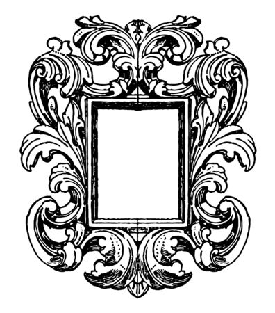 German Mirror-Frame is mirror surrounded by scroll work, vintage line drawing or engraving illustration.