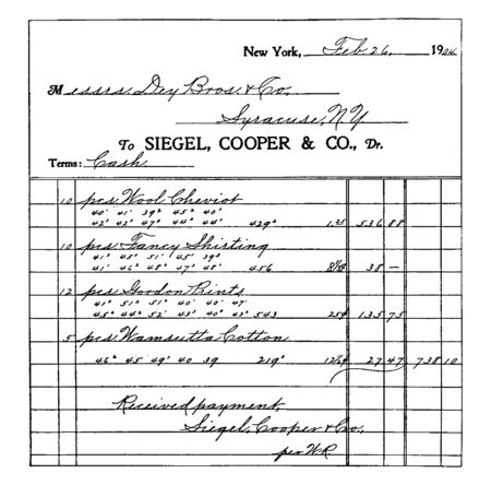 This illustration represents Receipted Bill for Dry Goods, vintage line drawing or engraving illustration.