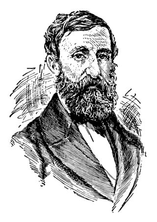 Henry David Thoreau, 1817-1862, he was an American essayist, poet, philosopher, abolitionist, naturalist, tax resister, and historian, vintage line drawing or engraving illustration Foto de archivo - 133022924