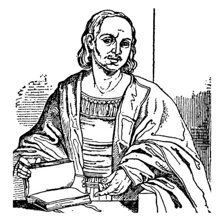 Giovanni Boccaccio, 1313-1375, he was an Italian poet, writer, an important renaissance humanist and correspondent of Petrarch, vintage line drawing or engraving illustration Foto de archivo - 133022925