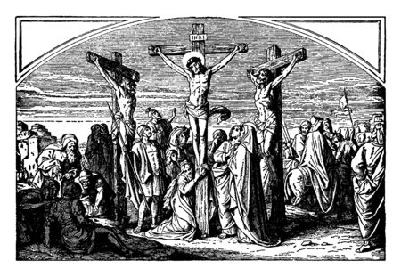 This picture shows the crucifixions of Jesus with two robbers were crucified with him, one on the right and one on the left