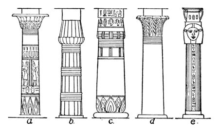 Types of Columns, pylon, support, types, ancient, egyptian , vintage line drawing or engraving illustration. 일러스트