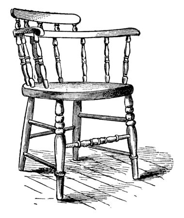 Chair made from wood has a circular seat and spindles forming backrest and armrest, vintage line drawing or engraving illustration Çizim