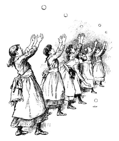 Six well dressed women are doing tossing exercise with balls. All balls are in the air except one, vintage line drawing or engraving illustration.