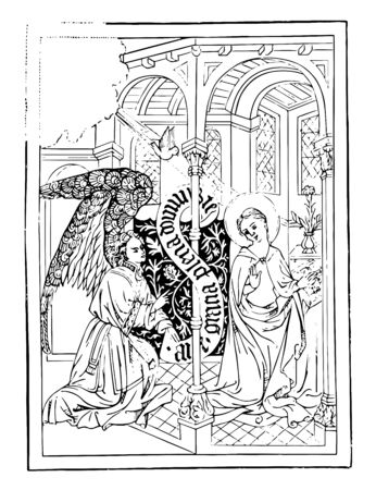 The Annunciation is an engraving, vintage line drawing or engraving illustration. Vettoriali